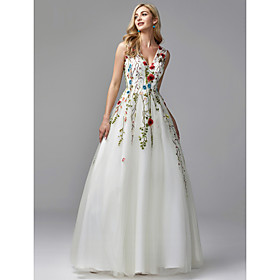 A-Line White Floral Quinceanera Formal Evening Valentine's Day Dress V Neck Sleeveless Floor Length Lace Tulle with Embroidery Appliques 20
