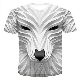 Men's 3D Graphic Print T-shirt Round Neck White / Animal