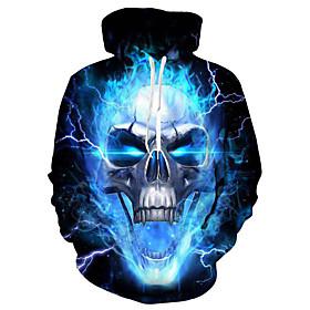 Men's Hoodie Color Block / 3D / Skull Hooded Casual / Basic Blue S M L XL XXL XXXL