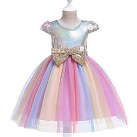 Kids Girls' Active Street chic Rainbow Patchwork Sequins Short Sleeve Knee-length Dress Purple
