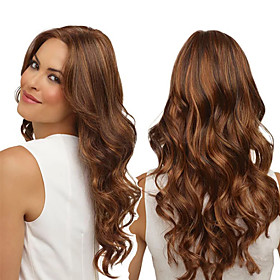 Synthetic Wig Curly Middle Part Wig Long Brown / Burgundy Synthetic Hair 18 inch Women's Fashionable Design Women Synthetic Brown