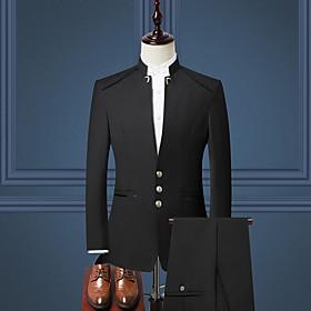 Men's V Neck Suits Solid Colored Black / Wine / Navy Blue M / L / XL / Slim