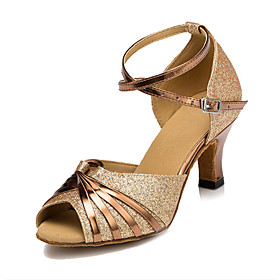 Women's Dance Shoes Latin Shoes / Ballroom Shoes / Salsa Shoes Sandal Buckle Flared Heel Customizable Black / Silver / Gold / Kid's / Indoor / Practice / Profe