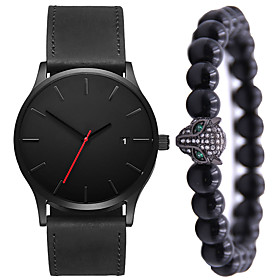 Men's Dress Watch Quartz Gift Set Minimalist Calendar / date / day Analog Black / White Black Black / Brown / One Year / Leather / Chronograph / Large Dial