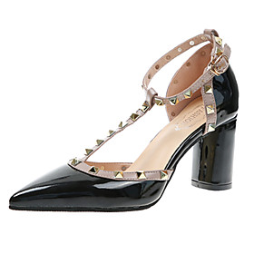 Women's Faux Leather Spring  Summer British Heels Chunky Heel Pointed Toe Rivet / Buckle White / Black / Gray