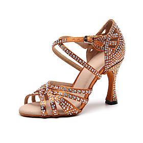 Women's Dance Shoes Latin Shoes / Ballroom Shoes / Line Dance Heel Crystal / Rhinestone Slim High Heel Customizable Black / Brown / Performance / Silk