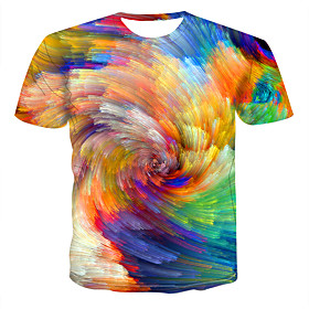 Love wins Men's Plus Size Abstract Graphic Print T-shirt Round Neck Rainbow