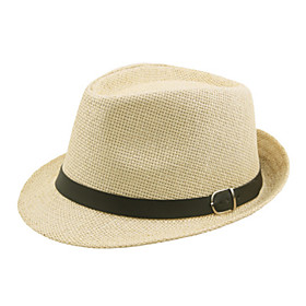 Men's Active 1930s Linen Straw Straw Hat-Solid Colored Summer Brown Black Beige