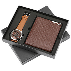 Men's Dress Watch Quartz Gift Set Leather Black / Brown No Calendar / date / day Chronograph Cute Analog New Arrival Fashion - Black Brown One Year Battery Lif