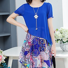 Women's Chiffon Dress - Short Sleeve Spring  Summer 2020 Yellow Blushing Pink Green Royal Blue Gray Light Blue M L XL XXL XXXL XXXXL XXXXXL