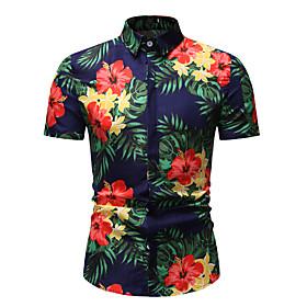Men's Athleisure Shirt Floral Graphic Print Short Sleeve Tops Basic Streetwear Classic Collar Rainbow / Beach