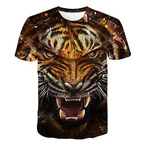 Men's 3D Graphic Print T-shirt Round Neck Brown / Animal