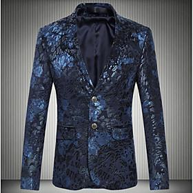 Men's Blazer Geometric Plus Size Wine / Navy Blue L / XL / XXL / Slim
