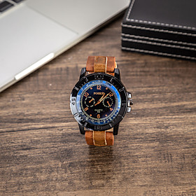 Men's Dress Watch Quartz Gift Set Casual Chronograph Analog Brown / Two Years / Leather / Luminous / Large Dial / Two Years