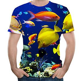 Men's 3D Graphic Print T-shirt Round Neck Blue