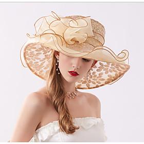 Women's Party Active Cute Chiffon Lace Floppy Hat Sun Hat-Floral All Seasons Beige Gray Khaki