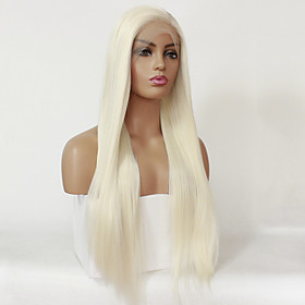 Synthetic Lace Front Wig Straight Silky Straight Lace Front Wig Blonde 24 inch 26 inch Long Platinum Blonde Synthetic Hair Women's Natural Hairline Blonde