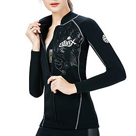 SLINX Women's Wetsuit Top Wetsuit Jacket 2mm SCR Neoprene Top Thermal / Warm Waterproof UV Sun Protection Long Sleeve Front Zip - Diving Surfing Water Sports S