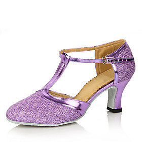 Women's Modern Shoes Ballroom Shoes Line Dance Heel Cuban Heel Silver Gray Black / Gold Purple Category:Ballroom Shoes,Modern Shoes,Line Dance; Upper Materials:Glitter,PU Leather; Lining Material:Fabric; Heel Type:Cuban Heel; Gender:Women's; Style:Heel; Outsole Materials:Leather; Occasion:Practice,Performance; Customized Shoes:Customizable; Listing Date:09/15/2020; Foot Length:; Size chart date source:Provided by Supplier.