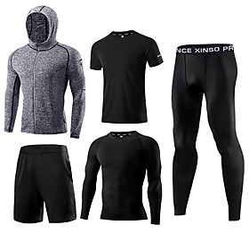 Men's Elastane Activewear Set Workout Outfits Compression Suit 5pcs Running Active Training Fitness Thermal / Warm Breathable Quick Dry Sportswear Athletic Clo