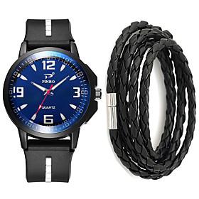 Men's Sport Watch Quartz Gift Set New Arrival Chronograph Analog Black / White Black / Yellow Black / Blue / One Year / Silicone / Large Dial