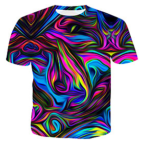 Men's Geometric 3D Print T-shirt Rainbow