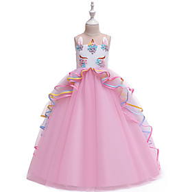 Kids Girls' Vintage Sweet Unicorn Color Block Layered Patchwork Sleeveless Maxi Dress Blushing Pink