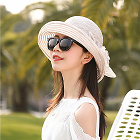 Women's Active Basic Cute Straw Straw Hat Sun Hat-Color Block Floral Print Spring Summer Navy Blue Pink / White Wine