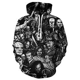 Men's Plus Size Hoodie 3D / Skull / Portrait Hooded Casual / Basic Black S M L XL XXL XXXL XXXXL XXXXXL