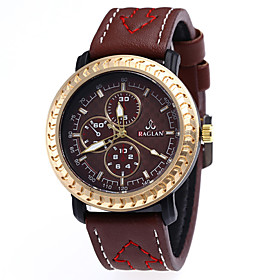 Men's Sport Watch Quartz Leather Black / Blue / Orange 30 m Chronograph Cute Creative Analog Classic Vintage - Brown Orange red Blue Two Years Battery Life