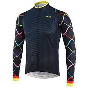 Arsuxeo Men's Long Sleeve Cycling Jersey Winter Fleece Royal Blue White Bike Top Mountain Bike MTB Road Bike Cycling Back Pocket Sweat-wicking Sports