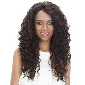 Synthetic Wig Curly Afro Side Part Wig Long Light Brown Brown / Burgundy Synthetic Hair 18 inch Women's Fashionable Design Women Synthetic Dark Brown Light Bro