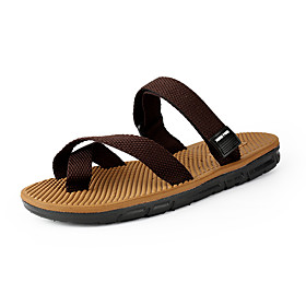 Men's Spring / Summer Casual / Beach Daily Home Slippers  Flip-Flops Elastic Fabric Breathable Non-slipping Wear Proof Black / Brown
