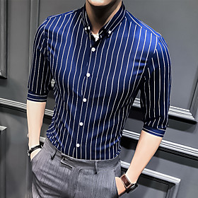 Men's Striped Shirt Basic Wedding Party White / Black / Blue / Red / Navy Blue / Light Blue