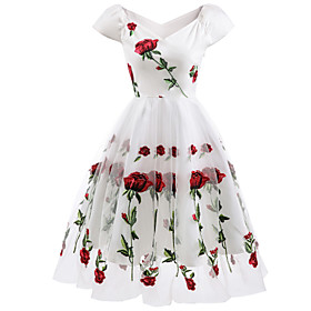 A-Line Floral White Holiday Cocktail Party Dress Off Shoulder Short Sleeve Knee Length Organza Stretch Satin with Embroidery Appliques 2020