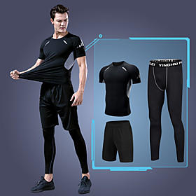Men's Activewear Set Workout Outfits Compression Suit 3pcs Running Basketball Fitness UV Resistant Quick Dry Soft Sportswear Plus Size Clothing Suit Short Slee