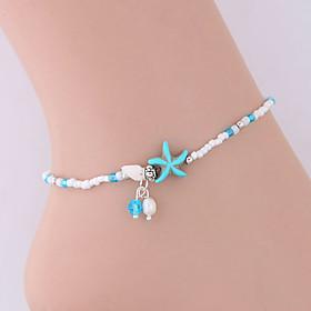 Ankle Bracelet Bohemian European Ethnic Women's Body Jewelry For Daily Beaded Resin Alloy Starfish Blue 1pc