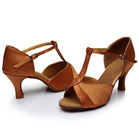 Women's Dance Shoes Latin Shoes / Ballroom Shoes / Salsa Shoes Sandal Customized Heel Customizable Brown / Indoor / Satin / Leather / EU40