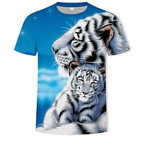 Men's 3D Graphic Print T-shirt Basic Round Neck Blue / Animal