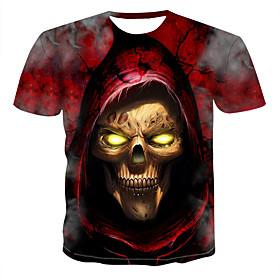 Men's 3D Graphic Print T-shirt Round Neck Red / Skull
