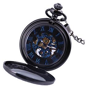 Men's Pocket Watch Automatic self-winding Fashion Hollow Engraving Analog Black