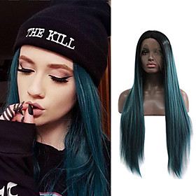 Synthetic Lace Front Wig Straight Jenner Middle Part Lace Front Wig Ombre Long Black / Dark Green Synthetic Hair 24 inch Women's Soft Women Best Quality Green