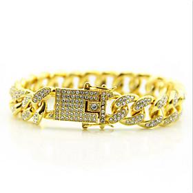 Men's Chain Bracelet Tennis Bracelet Wide Bangle Cut Out Precious Punk Rock 18K Gold Plated Bracelet Jewelry Gold / Silver For Daily Street / Rhinestone
