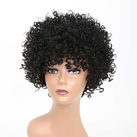 Synthetic Wig Afro Curly Rihanna Free Part Wig Short Black#1B Synthetic Hair 10 inch Women's Classic Easy to Carry Easy dressing Black / Natural Hairline / Nat