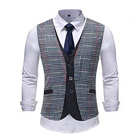 Men's Vest, Plaid V Neck Polyester Gray / Slim