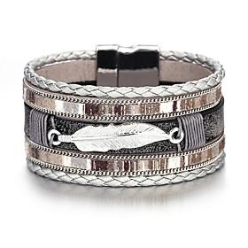 Men's Vintage Bracelet Leather Bracelet Classic Leaf Classic Vintage European Boho Leather Bracelet Jewelry Coffee For Party Daily Street Work
