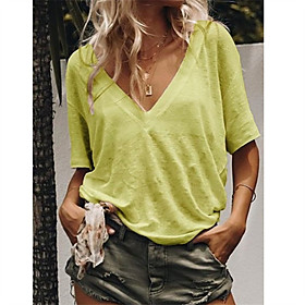 Women's T-shirt Solid Colored V Neck Tops Loose Cotton Basic Top Yellow Orange Green
