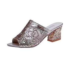 Women's Sandals Mesh Chunky Heel Peep Toe PU Minimalism Spring  Summer Gold / Silver