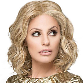 Synthetic Wig Curly Middle Part Wig Blonde Medium Length Light golden Synthetic Hair 12 inch Women's Fashionable Design Women Synthetic Blonde