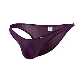 Men's 1 Piece Basic Briefs Underwear Low Waist White Black Purple M L XL
